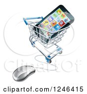 Clipart Of A 3d Computer Shopping Cart With A Cell Phone Inside Royalty Free Vector Illustration by AtStockIllustration