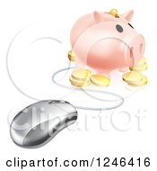 Clipart Of A 3d Computer Mouse Wired To A Piggy Bank With Coins Royalty Free Vector Illustration by AtStockIllustration