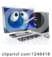 Clipart Of A 3d Sick Computer Character With A Fever Royalty Free Vector Illustration by AtStockIllustration
