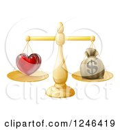 Clipart Of A 3d Gold Scale Weighing Love And A Money Bag Royalty Free Vector Illustration by AtStockIllustration