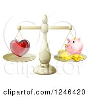 Clipart Of A 3d Scale Weighing Love And A Piggy Bank Royalty Free Vector Illustration