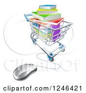 Clipart Of 3d Books Piled In A Shopping Cart Wired To A Computer Mouse Royalty Free Vector Illustration