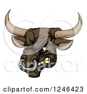 Clipart Of A Snarling Aggressive Bull Mascot Head Royalty Free Vector Illustration