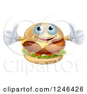 Clipart Of A Pleased Cheeseburger Holding Two Thumbs Up Royalty Free Vector Illustration