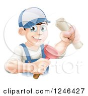 Clipart Of A Brunette Male Plumber Holding A Certificate And Plunger Royalty Free Vector Illustration