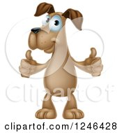 Clipart Of A Pleased Brown Dog Standing And Giving Two Thumbs Up Royalty Free Vector Illustration