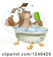 Clipart Of A Pleased Brown Dog Bathing And Holding A Thumb Up Royalty Free Vector Illustration by AtStockIllustration