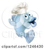 Cartoon Blue Chef Fish Gesturing