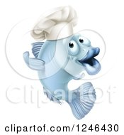 Clipart Of A Cartoon Blue Chef Fish Gesturing Royalty Free Vector Illustration by AtStockIllustration