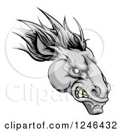 Clipart Of A Gray Snarling Horse Mascot Head Royalty Free Vector Illustration by AtStockIllustration
