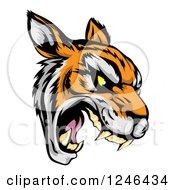 Clipart of a Roaring Aggressive Tiger Mascot Head - Royalty Free Vector Illustration by AtStockIllustration