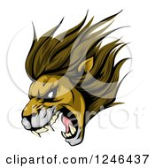 Clipart Of A Roaring Aggressive Lion Mascot Head Royalty Free Vector Illustration