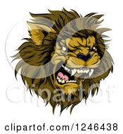 Clipart Of A Roaring Aggressive Male Lion Mascot Head Royalty Free Vector Illustration