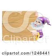 Clipart Of A Senior Male Wizard Pointing At A Wooden Sign Royalty Free Vector Illustration