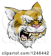 Clipart Of A Roaring Aggressive Bobcat Mascot Head Royalty Free Vector Illustration