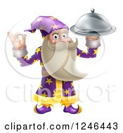 Clipart Of A Senior Wizard Holding Up A Food Platter Royalty Free Vector Illustration by AtStockIllustration