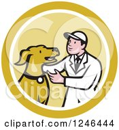 Clipart Of A Retro Cartoon Male Veterinarian Kneeling And Looking At A Dog In A Circle Royalty Free Vector Illustration by patrimonio