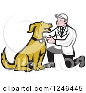 Clipart Of A Retro Cartoon Male Veterinarian Kneeling And Looking At A Dog Royalty Free Vector Illustration by patrimonio