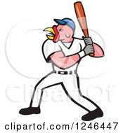 Clipart Of A Cartoon Turkey Bird Baseball Player Batting Royalty Free Vector Illustration