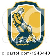 Clipart Of A Retro Male Construction Worker Operating A Jackhammer In A Shield Royalty Free Vector Illustration