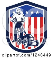 Clipart Of A Retro Woodcut Male Gardener With A Mower In An American Shield Royalty Free Vector Illustration