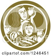 Clipart Of A Retro Woodcut Mother And Child With Produce In A Green Circle Royalty Free Vector Illustration by patrimonio