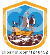 Clipart Of A Retro Woodcut Tall Galleon Ship At Sea In A Shield Royalty Free Vector Illustration