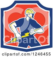Retro Male Electrician Holding A Bolt In A Shield