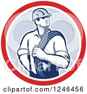 Clipart Of A Retro Power Lineman With An Electric Wire In A Circle Royalty Free Vector Illustration by patrimonio
