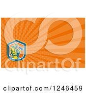 Clipart Of An Orange Ray Fireman Background Or Business Card Design Royalty Free Illustration