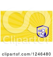 Clipart Of A Yellow Ray Camera Man Background Or Business Card Design Royalty Free Illustration