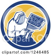Clipart Of A Retro Beekeeper Smoking Out A Hive Royalty Free Vector Illustration