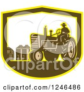 Clipart Of A Retro Farmer Driving A Tractor On A Farm In A Shield Royalty Free Vector Illustration