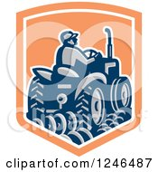 Clipart Of A Retro Farmer Driving A Tractor And Plowing In A Shield Royalty Free Vector Illustration