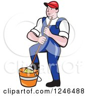 Cartoon Male Janitor With A Mop And Bucket