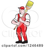 Cartoon Male Janitor With A Mop Or Broom Over His Shoulder