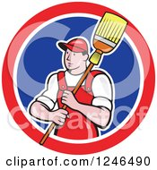 Clipart Of A Male Janitor With A Mop Or Broom Over His Shoulder In A Circle Royalty Free Vector Illustration