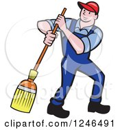 Clipart Of A Cartoon Male Janitor With A Mop Or Broom Royalty Free Vector Illustration