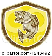 Clipart Of A Jumping Largemouth Bass Fish In A Shield Royalty Free Vector Illustration by patrimonio
