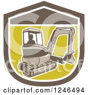 Clipart Of A Retro Excavator Machine In A Sheild Royalty Free Vector Illustration by patrimonio