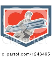 Clipart Of A Retro Male Construction Worker Carrying A Beam In A Shield Royalty Free Vector Illustration