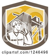 Clipart Of A Retor Male Dock Worker With Shipping Containers In A Shield Royalty Free Vector Illustration by patrimonio