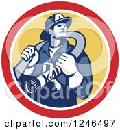 Clipart Of A Retro Fireman With A Hose In A Yellow And Red Circle Royalty Free Vector Illustration by patrimonio
