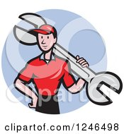 Clipart Of A Cartoon Male Mechanic With A Giant Spanner Wrench In A Blue Circle Royalty Free Vector Illustration