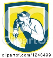 Clipart Of A Retro Welder Worker In A Yellow Shield Royalty Free Vector Illustration