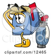 Clipart Picture Of A Blue Postal Mailbox Cartoon Character Swinging His Golf Club While Golfing