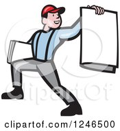 Clipart Of A Cartoon Newspaper Boy Holding One Out Royalty Free Vector Illustration by patrimonio