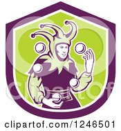Clipart Of A Retro Jester Juggling Balls Over A Green And Purple Shield Royalty Free Vector Illustration