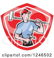 Poster, Art Print Of Cartoon Male Handyman With A Roller Paint Brush And Hammer In A Shield