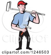 Poster, Art Print Of Cartoon Male Handyman With A Roller Paint Brush And Hammer